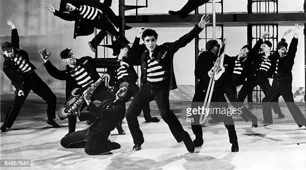 Photo of Elvis PRESLEY Elvis Presley performing in film 'Jailhouse Rock'
