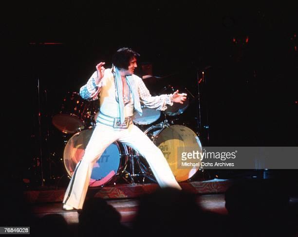 Photo of Elvis Presley in Las Vegas during a concert in December of 1975