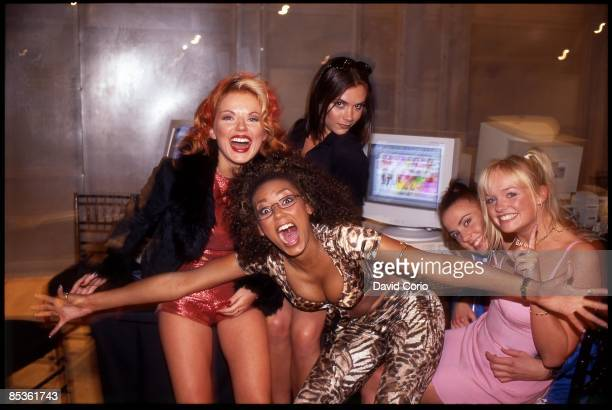 Photo of Emma BUNTON and Geri HALLIWELL and Victoria BECKHAM and SPICE GIRLS Group portrait LR Geri Halliwell Victoria Adams behind Melanie Brown...