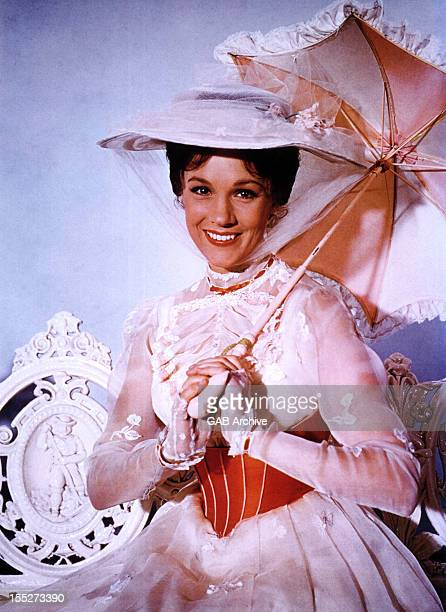 Photo of English actress Julie Andrews dressed as the title character from the 1964 film Mary Poppins