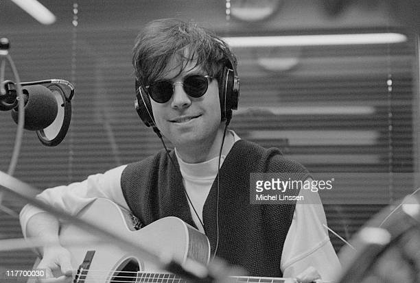 Photo of English singer and musician Ian McCulloch from Echo And the Bunnymen posed in a recording studio in the Netherlands in 1992