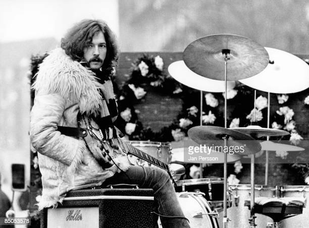Photo of Eric CLAPTON and CREAM Eric Clapton posed on set of film 'It was a Saturday Night'