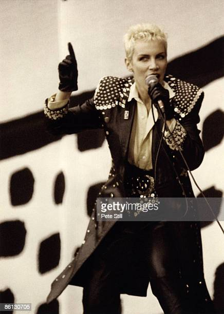 Photo of EURYTHMICS and Annie LENNOX Annie Lennox performing on stage at the Nelson Mandela 70th Birthday Tribute concert