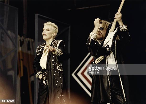 Photo of EURYTHMICS and Dave STEWART and Annie LENNOX, Annie Lennox and Dave Stewart performing on stage at the Nelson Mandela 70th Birthday Tribute...