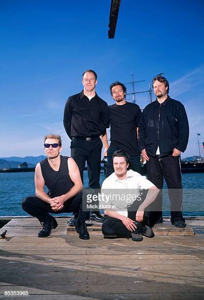 Photo of FAITH NO MORE and Jon HUDSON and Roddy BOTTUM and Mike PATTON and Mike BORDIN; Posed group portrait L-R Jon Hudson, Roddy Bottum, Mike...