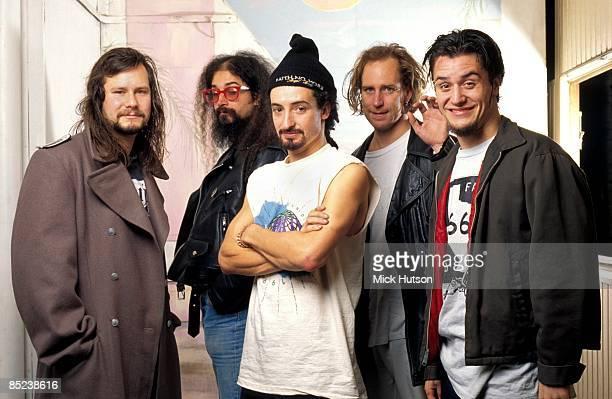 Photo of FAITH NO MORE; L-R Bill Gould, Jim Martin, Mike Bordin, Roddy Bottum, Mike Patten
