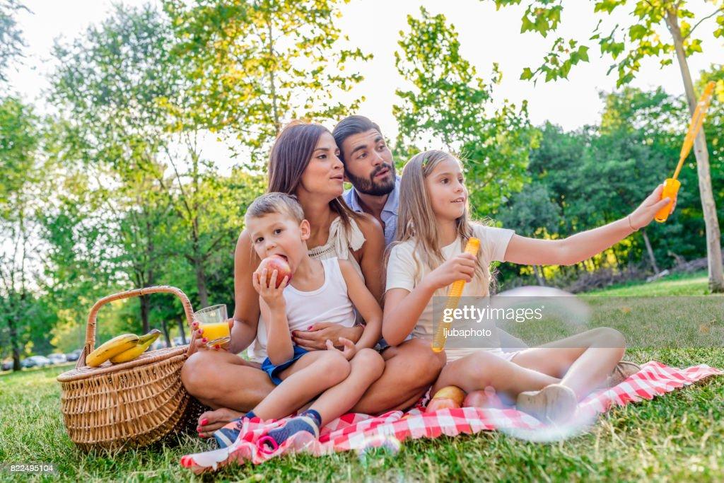 Photo of Family enjoying picnic outing : Stock Photo