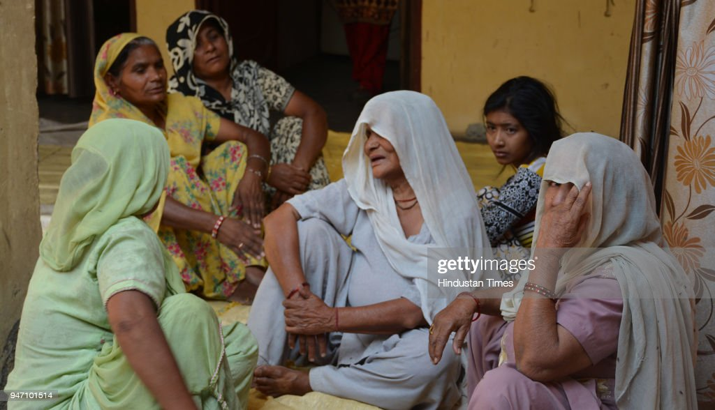 A photo of family members of gangster Bhupesh alias Bhupi Rana who was shot dead by unidentified assailants on Monday morning at Barwala on April 16..