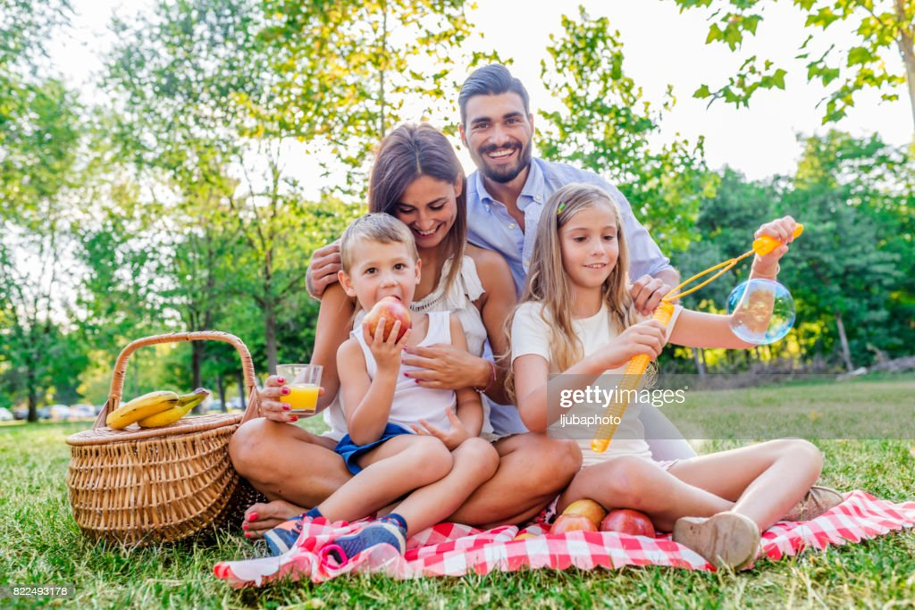 Photo of Family picnicking outdoors : Stock Photo