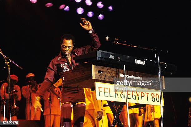 UNITED STATES NOVEMBER 08 FELT FORUM Photo of Fela KUTI and EGYPT 80 performing live onstage with Egypt 80 Yamaha and Intercontinental keyboards