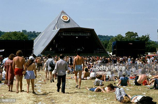 FESTIVAL Photo of FESTIVALS Crowds in front of the original Pyramid Stage at Glastonbury Festival