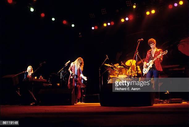 Photo of FLEETWOOD MAC LR Christine McVie Stevie Nicks Lindsey Buckingham performing live onstage