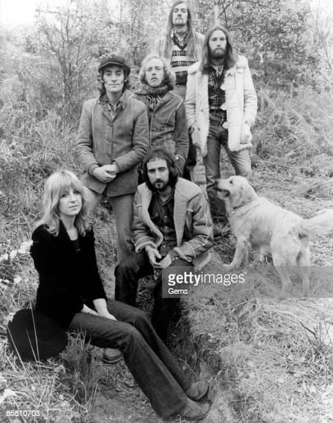 Photo of FLEETWOOD MAC LR Mick Fleetwood Bob Weston Bob Welch Dave Walker Christine McVie John McVie posed group shot 1972/1973