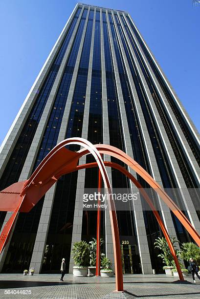 Photo of four Arches by Alexander Calder a painted steel sculpture defines the courtyard at Bank of America 333 South Hope Street Los Angeles Weekend...