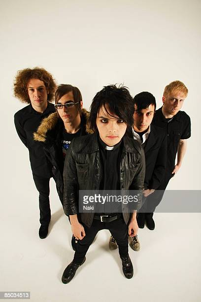 STUDIO Photo of Frank IERO and Gerard WAY and Ray TORO and MY CHEMICAL ROMANCE LR Ray Toro Mikey Way Gerard Way Frank Iero Bob Bryar photographed at...