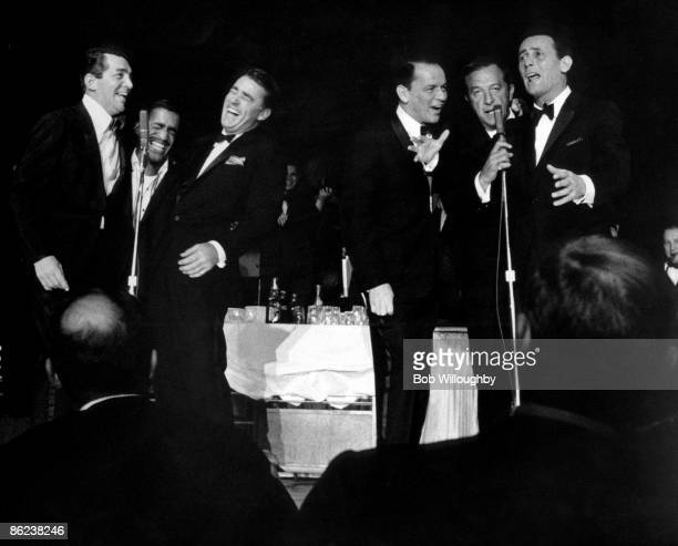 Photo of Frank SINATRA and RAT PACK and Dean MARTIN and Sammy DAVIS JNR LR Dean Martin Sammy Davis Jnr Peter Lawford Frank Sinatra Joey Bishop Buddy...