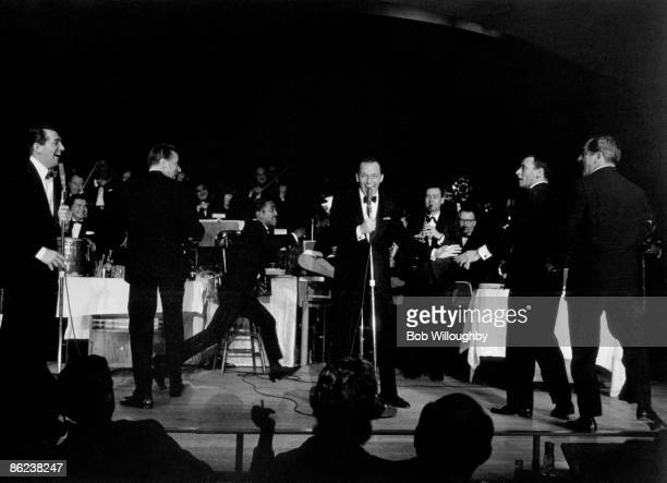 Photo of Frank SINATRA and RAT PACK and Dean MARTIN and Sammy DAVIS JNR Dean Martin Peter Lawford Sammy Davis Jnr Frank Sinatra Joey Bishop Buddy...