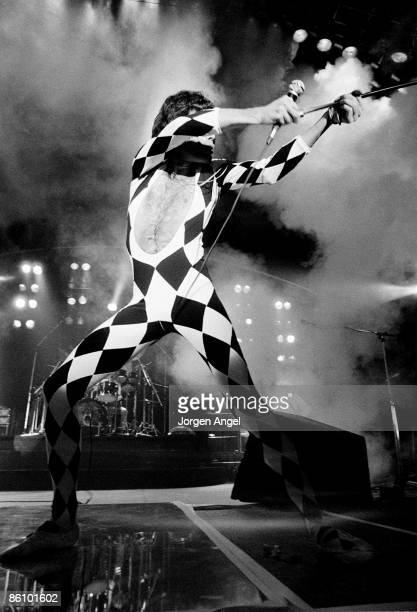 Photo of Freddie MERCURY and QUEEN Freddie Mercury performing live on stage at Broendby Hall