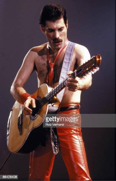 Photo of Freddie MERCURY and QUEEN Freddie Mercury performing live on stage at Groenoordhallen Lieden