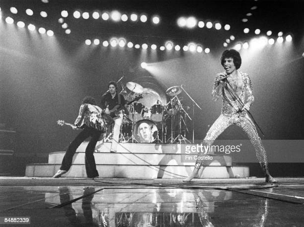 AHOY Photo of Freddie MERCURY and QUEEN LR Brian May John Deacon Roger Taylor and Freddie Mercury performing live on stage