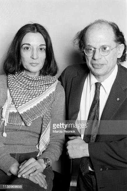 Photo of French American artist Marisol Escobar and Beat poet Allen Ginsberg at William Burrough's Bunker on the Bowery, New York, New York, summer...