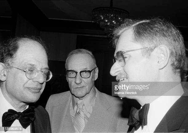 Photo of, from left, American Beat writers Allen Ginsberg and William S Burroughs , and poet John Ashbery at the Literary Gold Medal Awards Dinner in...