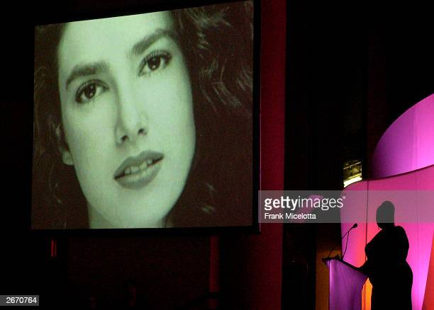 """Photo of Gabrielle Rich Aoud, daughter of socialite Denise Rich is seen on a video screen at """"The G & P Foundation For Cancer Research salutes The..."""