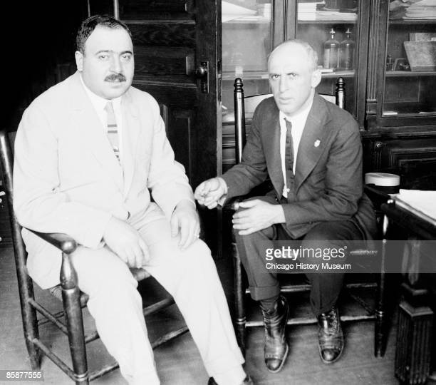 Photo of gangster James 'Big Jim' Colosimo with Attorney Charles E Erbstein shortly before Colosimo's murder probably in Chicago 1920 Colosimo built...