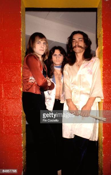 USA Photo of Geddy LEE and RUSH and Alex LIFESON and Neil PEART LR Alex Lifeson Geddy Lee Neil Peart posed group shot