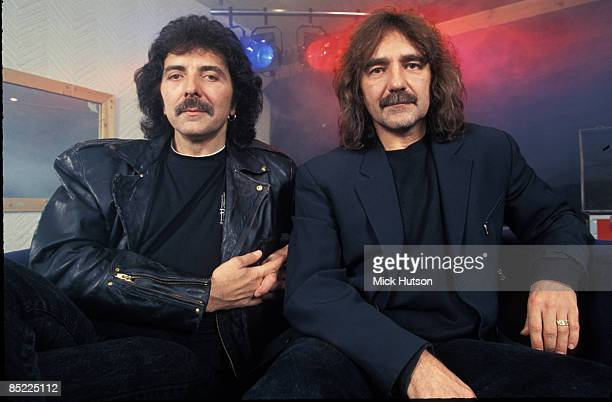 Photo of Geezer BUTLER and Tony IOMMI and BLACK SABBATH LR Tony Iommi Geezer Butler posed