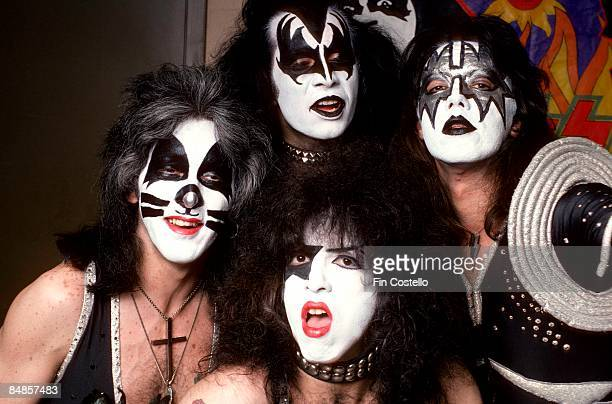 COLISEUM Photo of Gene SIMMONS and KISS and Peter CRISS and Paul STANLEY and Ace FREHLEY LR Peter Criss Gene Simmons Paul Stanley Ace Frehley posed...