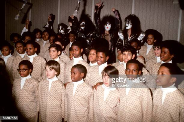 Photo of Gene SIMMONS and KISS and Peter CRISS and Paul STANLEY and Ace FREHLEY Peter Criss Gene Simmons Paul Stanley Ace Frehley posed group shot in...