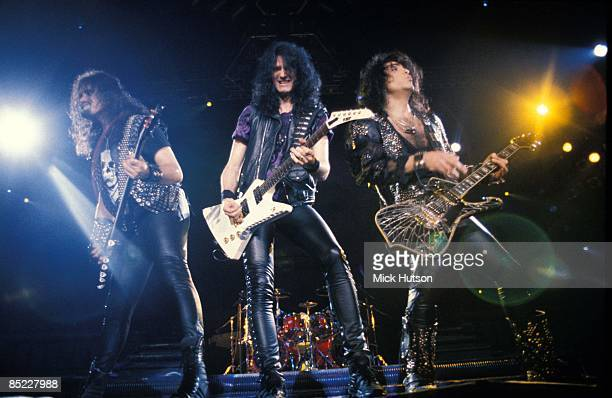 ARENA Photo of Gene SIMMONS and Paul STANLEY and KISS and Bruce KULICK LR Gene Simmons Bruce Kulick Paul Stanley performing live onstage without make...