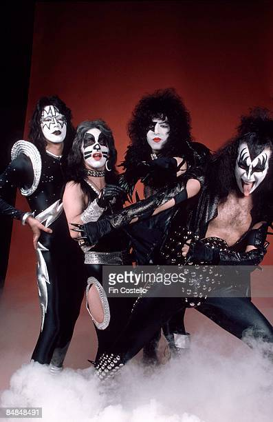 Photo of Gene SIMMONS and Paul STANLEY and Peter CRISS and KISS and Ace FREHLEY LR Ace Frehley Peter Criss Paul Stanley Gene Simmons posed studio...
