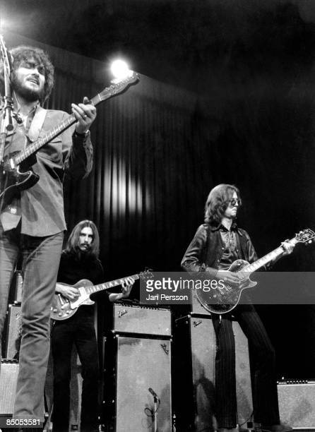 Photo of George HARRISON and DELANEY BONNIE and Eric CLAPTON LR Delaney Bramlett George Harrison Eric Clapton performing live onstage
