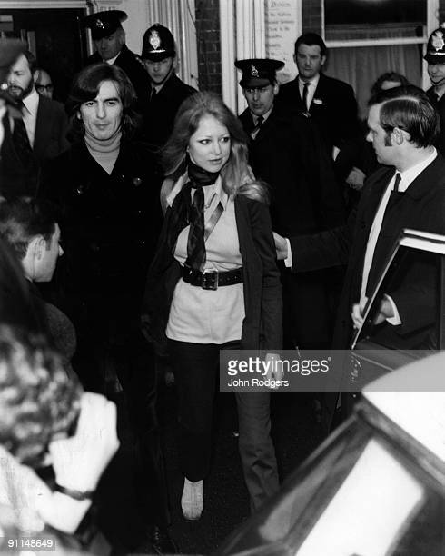 Photo of George HARRISON and Patti BOYD and BEATLES; George Harrison and wife Patti Boyd leaving court after being released on bail for drugs charges