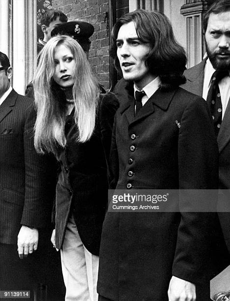 Photo of George HARRISON and Patti BOYD; with his wife Patti Boyd leaving court after being fined -·250.00 for possession of Cannabis