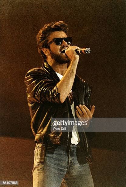 Photo of George MICHAEL and LIVE AID and WHAM, George Michael performing on stage at Live Aid