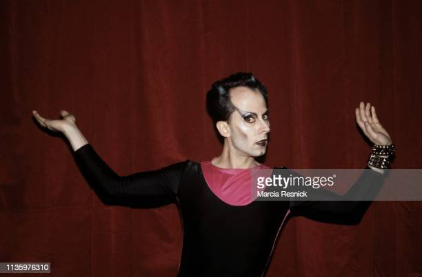 Photo of Germanborn performance artist and musician Klaus Nomi backstage after one of the fournights of performances in the revue 'New Wave...