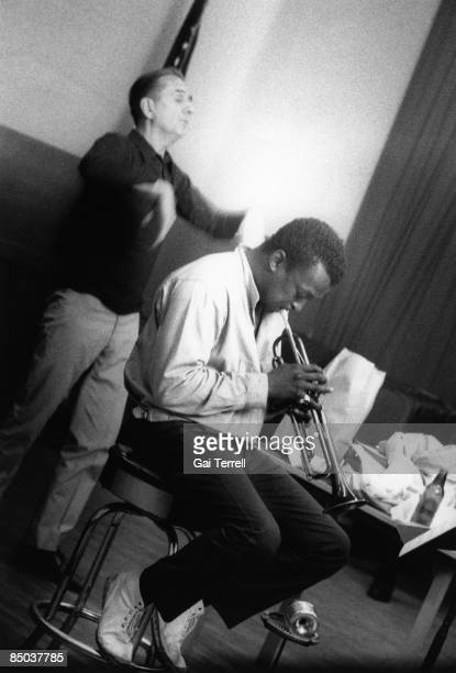 Photo of Gil EVANS and Miles DAVIS Miles Davis Gil Evans in rehearsal for Carnegie Hall concert