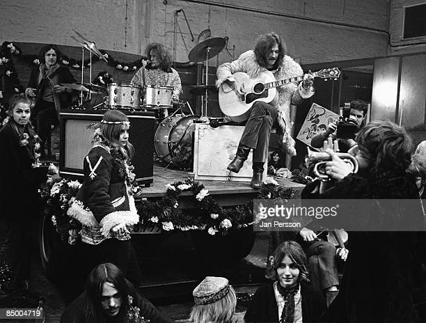 Photo of Ginger BAKER and CREAM and Jack BRUCE and Eric CLAPTON LR Jack Bruce Ginger Baker Eric Clapton performing onstage shooting the film 'It was...