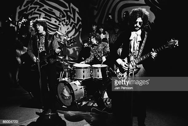 Photo of Ginger BAKER and CREAM and Jack BRUCE and Eric CLAPTON LR Jack Bruce Ginger Baker Eric Clapton performing on a TV show
