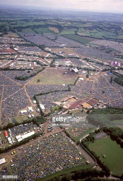 Photo of GLASTONBURY, Aeriel view of the Glastonbury Festival site in the 1990s