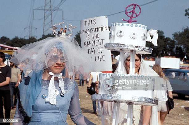 FESTIVAL Photo of GLASTONBURY Festivalgoers in fancy dress at Glastonbury Festival