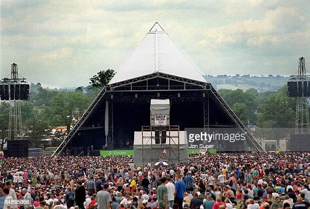 FESTIVAL Photo of GLASTONBURY Pyramid Stage and crowds at Glastonbury Festival