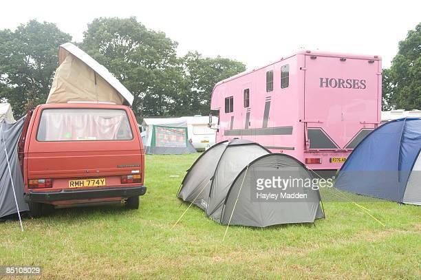 FESTIVAL Photo of GLASTONBURY Tents and vans at the Glastonbury Festival