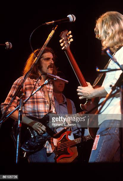 Photo of Glenn FREY and EAGLES; L-R: Glenn Frey, Randy Meisner , Don Felder performing live onstage on Hotel California tour