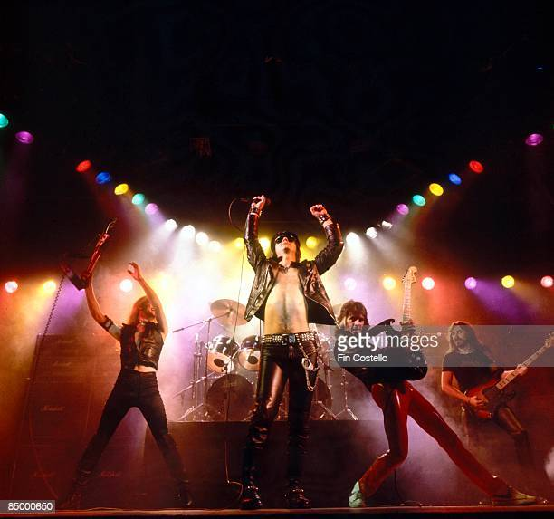 Photo of Glenn TIPTON and Rob HALFORD and KK DOWNING and JUDAS PRIEST and Ian HILL LR KK Downing Rob Halford Glenn Tipton Ian Hill performing on...