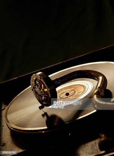 Photo of gramophone with Glenn Miller 78rpm recording of In The Mood on 28 November 2004 THE AGE Picture by NEIL NEWITT