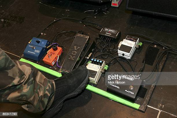 Photo of GUITAR EFFECTS PEDALS foot operating guitar effects pedals including Vox Boss and MXR pedals